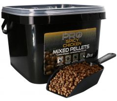 STARBAITS Pro Spicy Chicken Pelety Mixed 2kg + lopatka